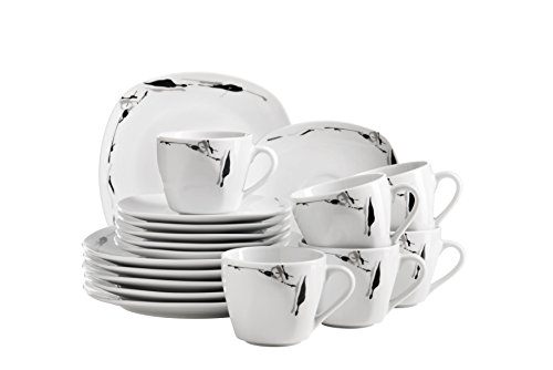 Domestic by Mäser, Serie Loni, Kaffeeservice , Untertassen und Desserteller, zeitloses und schlichtes Porzellan lässt Raum für Accessoires