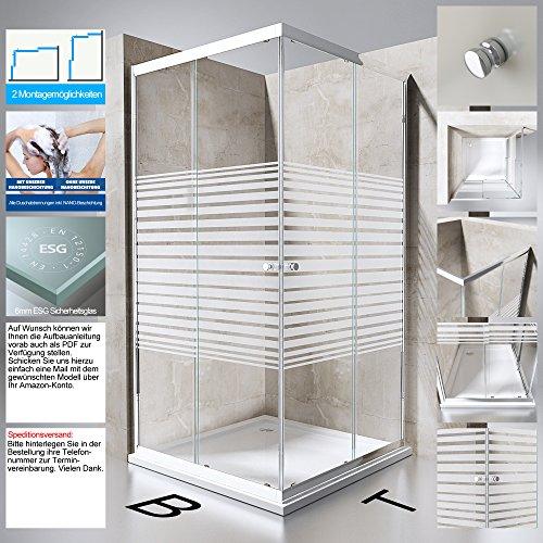 Duschabtrennung Duschkabine Ravenna14 aus ESG-Sicherheitsglas und NANO-Beschichtung mit Schiebetür in verschiedenen Glasarten und Größen