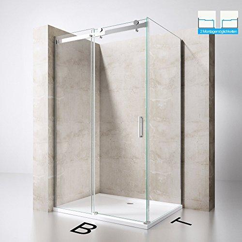 Duschabtrennung Duschkabine Ravenna17 aus 8mm ESG-Sicherheitsglas in Klarglas, L-Form mit Schiebetür in verschiedenen Größen, inkl. Beidseitiger NANO-Beschichtung,Duschwand, optional mit Duschtasse
