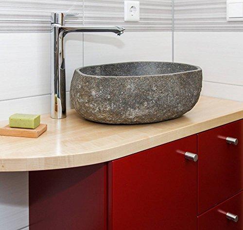 Flußsteinwaschbecken Waschschale 40 cm klein Flußkiesel Aufsatz Waschbecken