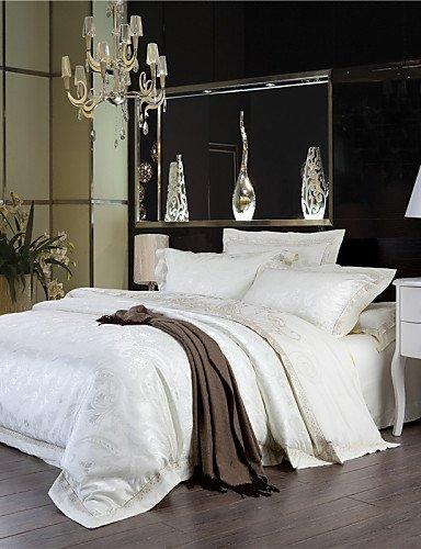 GAOHAIFQ®, vierteilige Anzug,bei einem Verlust Milch Decke weiße Bettwäsche neue Jahr Geschenke einfache feste Bettwäsche elegante Blätter 4pcs Königin König gesetzt