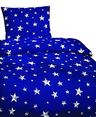 Leonado Vicenti 2 tlg. Bettwäsche 135x200 cm mit Sternen in blau/weiß aus Microfaser Set mit Reißverschluss