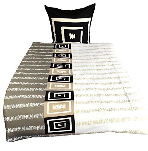 Leonado Vicenti 4 tlg. / 2x2 tlg. Bettwäsche 135x200 cm in schwarz/beige/weiß aus Microfaser modern Kariert Set mit Reißverschluss