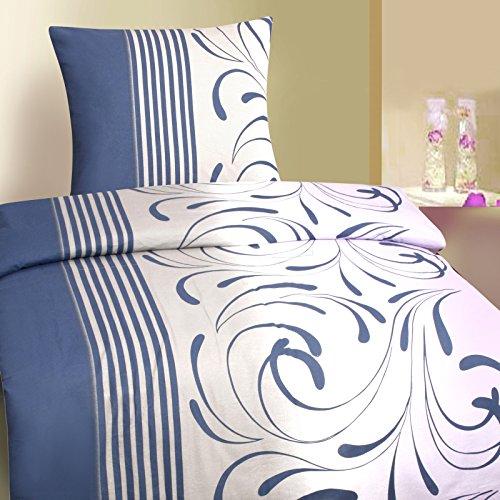 Luxus Biber Bettwäsche 135x200 cm Sparpack 2 oder 4-teilig Bettgarnitur aus 100% Baumwolle Blau Weiß