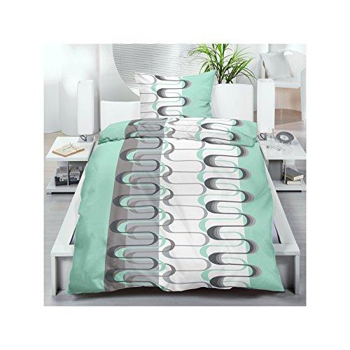 Microfaser Bettwäsche 135x200 cm 2 oder 4 tlg. aus 100% Polyester Bettgarnitur Sparset 70gr/m² in Mint Grün mit Wellenmuster