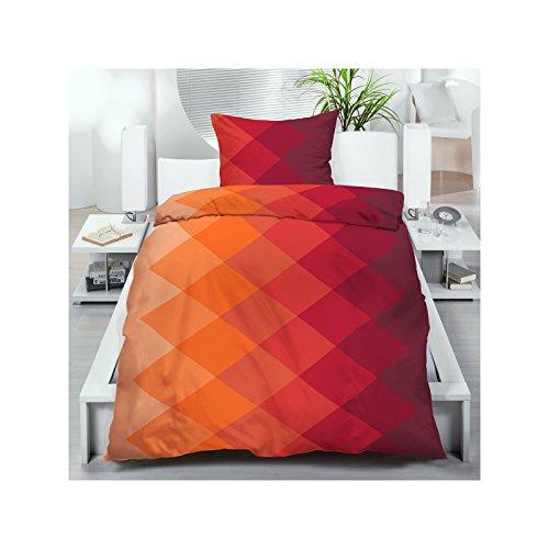Microfaser Bettwäsche 135x200 cm 2 oder 4 tlg. aus 100% Polyester Bettgarnitur Sparset 70gr/m² in Orange Rot Rautenmuster Farbverlauf