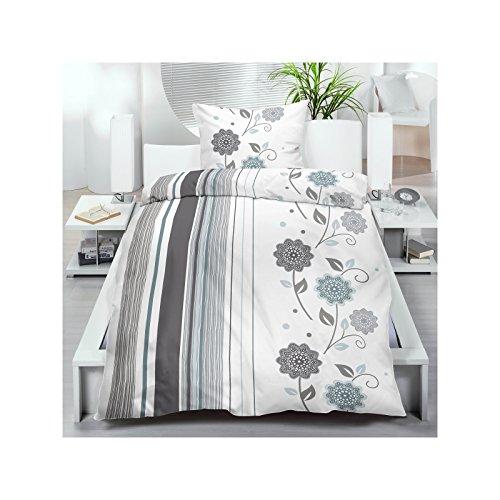 Microfaser Bettwäsche 135x200 cm 2 oder 4 tlg. aus 100% Polyester Bettgarnitur Sparset 70gr/m² in Weiß Grau mit Blumenmuster