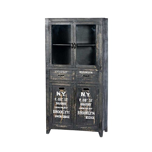 Vitrine in Schwarz antik Industrie Style Pharao24