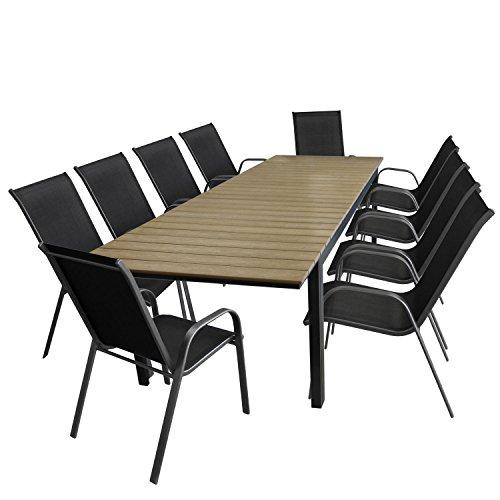 11tlg gartengarnitur gartentisch ausziehbar aluminiumrahmen polywood tischplatte 280. Black Bedroom Furniture Sets. Home Design Ideas