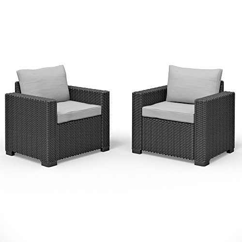 2er set allibert california lounge sessel polyrattan gartenm bel rattanoptik graphit inkl. Black Bedroom Furniture Sets. Home Design Ideas