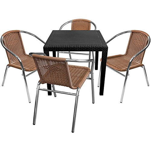 5er set gartenm bel rattan optik 79x79cm schwarz 4x stapelbare aluminium bistrost hle poly. Black Bedroom Furniture Sets. Home Design Ideas