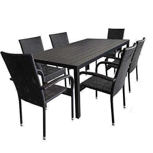 7tlg gartengarnitur aluminium polywood gartentisch 205x90cm poly rattan gartensessel. Black Bedroom Furniture Sets. Home Design Ideas