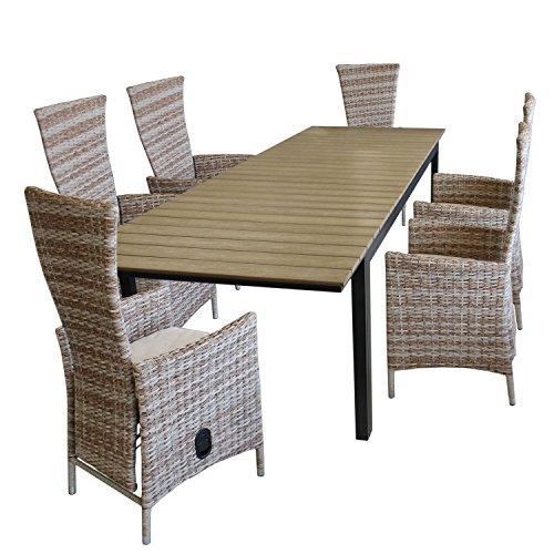 7tlg gartenm bel set ausziehtisch polywood tischplatte in brow grey 280 220x95cm 6x. Black Bedroom Furniture Sets. Home Design Ideas