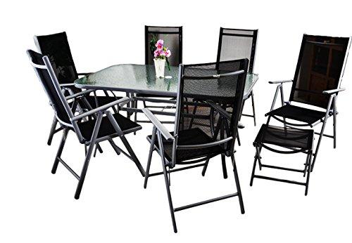 9tlg gartengarnitur sitzgarnitur sitzgruppe gartenm bel alu aluminium mit glastisch 6 klappbare. Black Bedroom Furniture Sets. Home Design Ideas