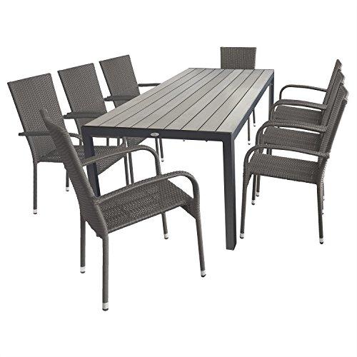 9tlg gartengarnitur terrassenm bel gartenm bel set sitzgruppe gartentisch aluminiumgestell. Black Bedroom Furniture Sets. Home Design Ideas