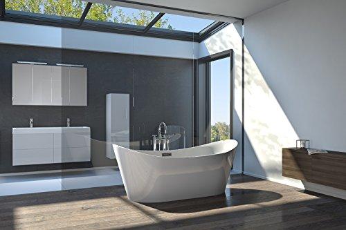 Bad11® - freistehende Badewanne Bella in 170 cm aus Sanitär-Acryl weiß, mit integriertem Überlauf und Pop-Up Ablaufgarnitur, schlichtes Design, ohne Standfüße