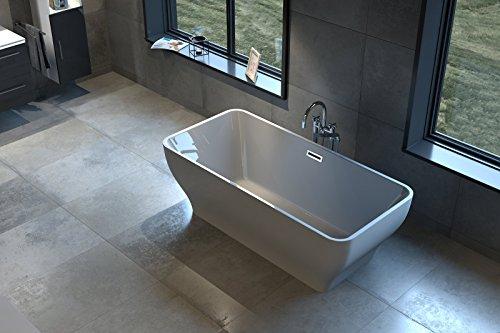 Bad11® - freistehende Badewanne Celine in 170 cm aus Sanitär-Acryl in grau, mit integriertem Überlauf und Pop-Up Ablaufgarnitur, schlichtes Design, ohne Standfüße