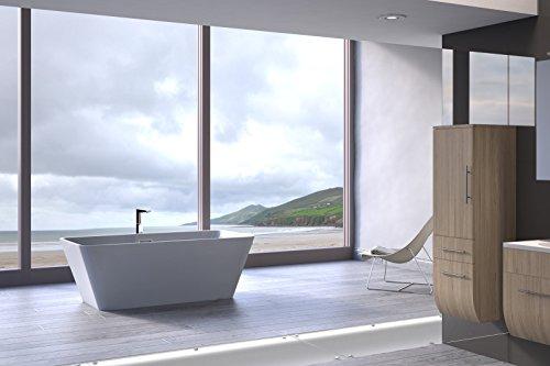 Bad11® - freistehende Badewanne Gloria in 170 cm aus Sanitär-Acryl in weiß, mit integriertem Überlauf und Pop-Up Ablaufgarnitur, schlichtes Design, ohne Standfüße