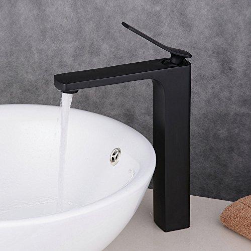 Beelee Wasserhahn Hohe Schwarz Bad Armatur Waschbecken Waschbeckenarmatur Einhebelmischer Badarmatur Mischbatterie Armaturen für Bad