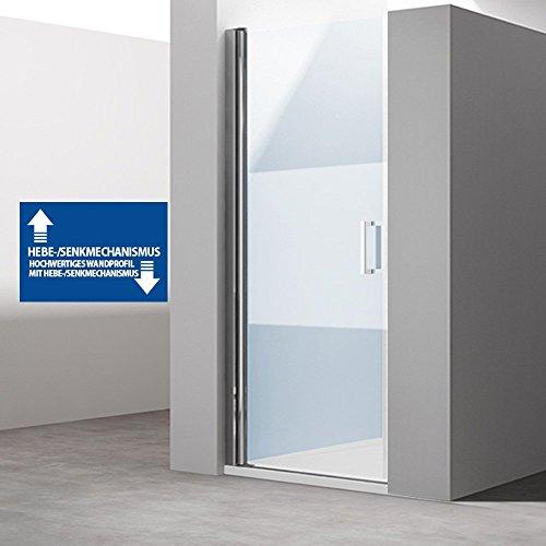 BxH: 85x195 cm Design Nischentür Teramo24ms, Einzeltür mit Wandanschlag Links, ESG Sicherheitsglas Klarglas mit Milchglas Streifen, mit Hebe- und Senkmechanismus, inkl. NANO-Beschichtung