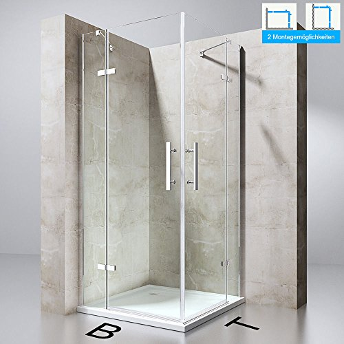 Duschabtrennung Duschkabine Ravenna30k in Klarglas oder alternativ mit Milchglas Streifen, ESG-Sicherheitsglas, Höhe: 195cm, Eckeinstieg, Duschwand