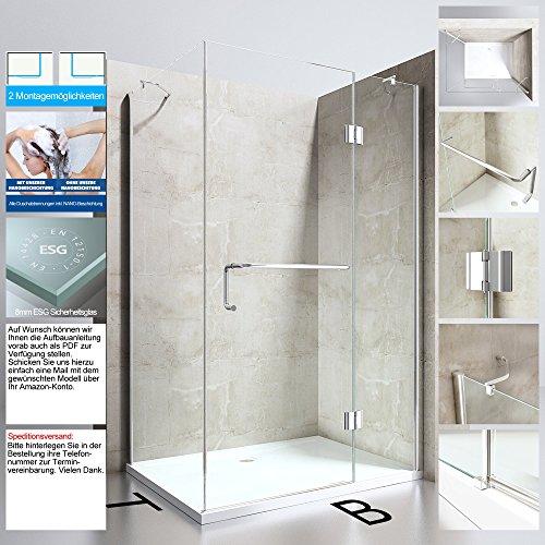 Duschabtrennung Duschkabine Ravenna4 aus 8mm ESG-Sicherheitsglas in Verschiedenen Größen und Glasarten