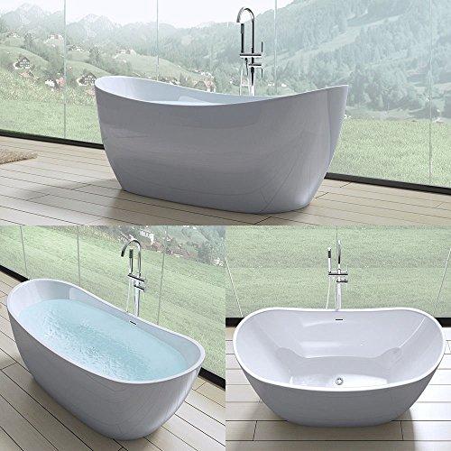Exclusive freistehende Design Badewanne Vicenza502 in weiß, BTH: 180x80x60 cm