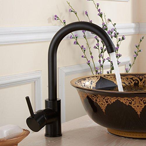 Fapully Chrom Schwarz Waschbecken Wasserhahn Mischbatterie Bad Badarmatur Waschtischarmatur für Badzimmer