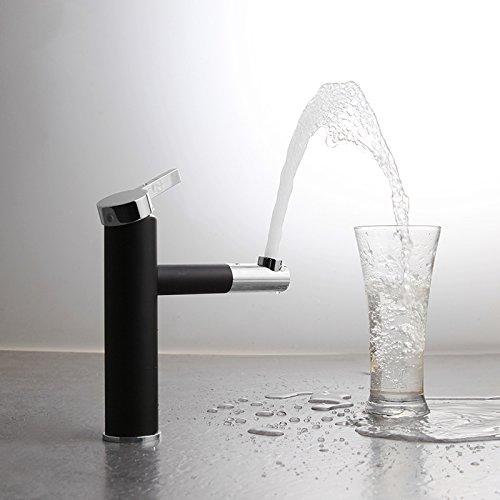 Fapully Mischbatterie Wasserhahn Schwenkbar Waschbeckenarmatur mit drehbarem Auslauf Waschtisch Armatur Chrom Schwarz