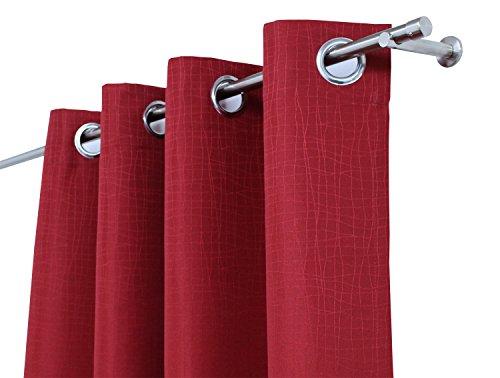 Gardinen in schwerer Stoffqualität und dezentem Muster mit verchromten Ösen, 145x240 cm, in verschiedenen Farben erhältlich