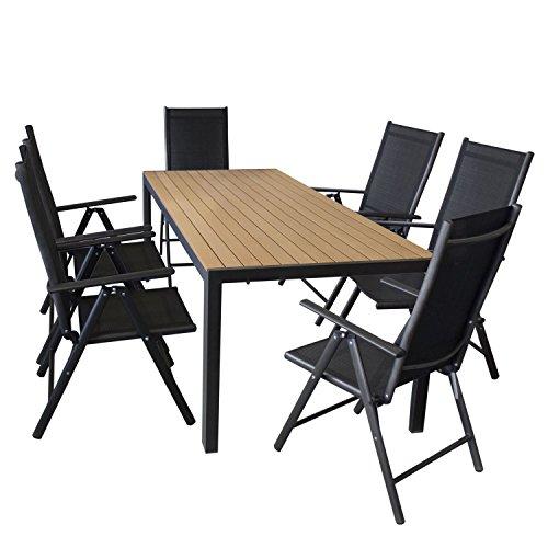 Gartengarnitur Sitzgruppe Sitzgarnitur Terrassenmöbel Set Aluminium Polywood Gartentisch 205x90cm + 7-Positionen Hochlehner mit 2x2 Textilenbespannung