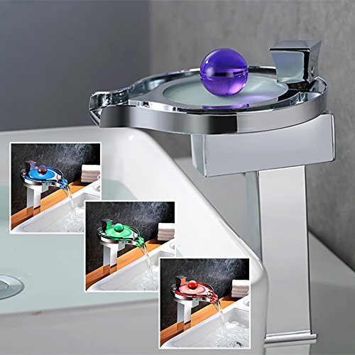 Homelody® Hohe Chrom RGB LED Wasserhahn Wasserfall Armatur Elegant Design 3 Farbewechsel Waschbeckenarmatur Mischbatterie Bad/Badzimmer