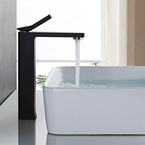 Homelody®Hohe Wasserhahn mit Schwarz Lack beschichtet Waschtischarmatur Einhebel Mischbatterie Waschbeckenarmatur Badarmatur Waschbecken Waschtisch Armatur Bad