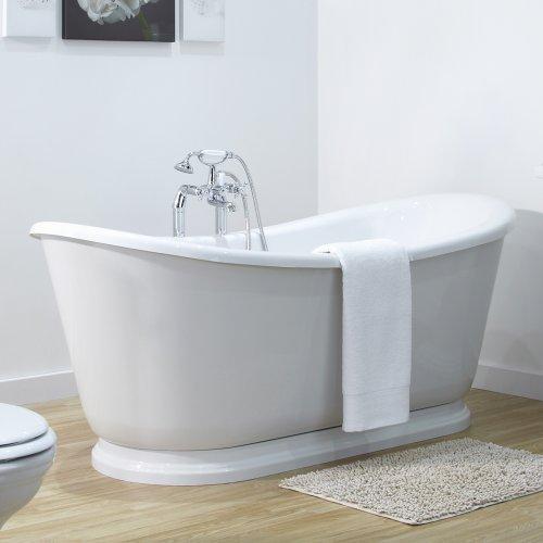 Hudson Reed Freistehende Badewanne Venezia - Acrylbadewanne in Weiß - 700 x 800 x 1750 - 210 Liter Fassungsvermögen