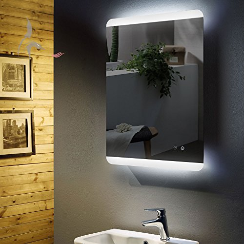 led bad spiegel beleuchtet mit integrierter antibeschlg spiegelheizung f ssen 60x80cm montage. Black Bedroom Furniture Sets. Home Design Ideas