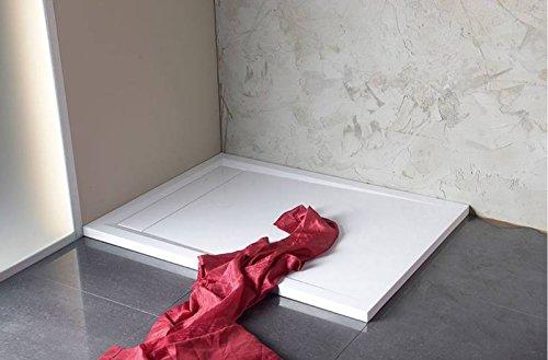 Mineralguß Duschwanne mit Rinne 90x90 Duschwannen 90x90 Rinne Quadrat Duschbadewanne 90x90x4,0 cm