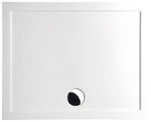 Mineralguss Duschwanne 90x70 - begehbare Dusche 900x700x40 mm, Weiß