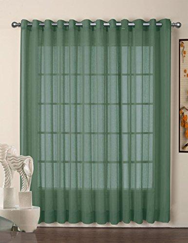 R. lang Tülle Top Vorhänge, Gardinen Voile Fenster Panel 1Paar dunkelgrün