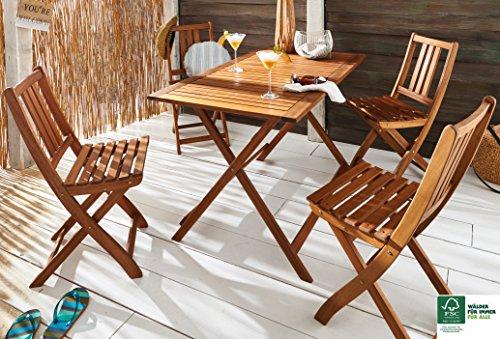 SAM® Gartengruppe, 5tlg., Balkongruppe aus Akazienholz, FSC® 100% zertifiziert, 1 x Tisch + 4 x Stuhl, Garten-Tischgruppe, massives Holz, klappbar, Sitzgruppe aus Akazien-Holz [521249]