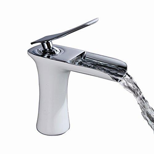SUMERAIN Messing Weiß&Chrom Badarmatur Wasserfall Waschtischmischer Wasserhahn Waschbecken Armatur Einhebelmischer