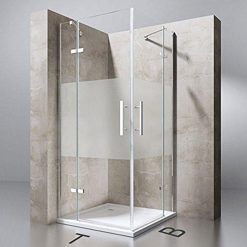 TBH: 90x90x195 cm Design Duschabtrennung Ravenna30MS, ESG-Sicherheitsglas Milchglas Streifen, inkl. NANO-Beschichtung