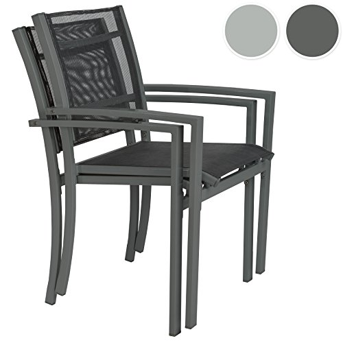 tectake gartenstuhl 2er set hochlehner metall mit. Black Bedroom Furniture Sets. Home Design Ideas