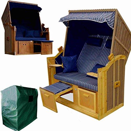 wohnwerk zweisitzer strandkorb ostsee exklusiv f r amazon im komplettset mit 4 kissen. Black Bedroom Furniture Sets. Home Design Ideas