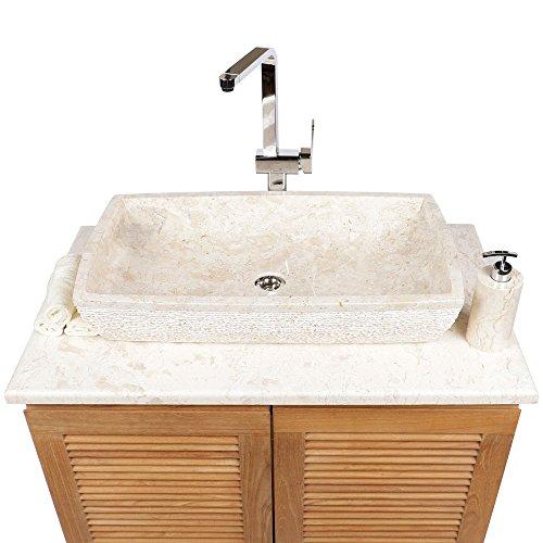 Wohnfreuden Marmor Aufsatz-Waschbecken Waschtisch Naturstein eckig 70 x40 cm creme hell Stein Handwaschbecken