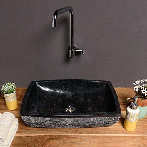 Wohnfreuden Naturstein Marmor Waschbecken MARA 50 cm schwarz ✓ Waschschale Findling rechteckig gehämmert ✓ schnell & versandkostenfrei ✓