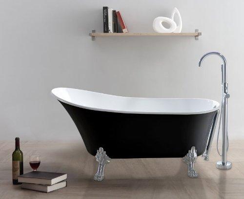 freistehende Badewanne CLASSICO-SW (schwarz-weiß)