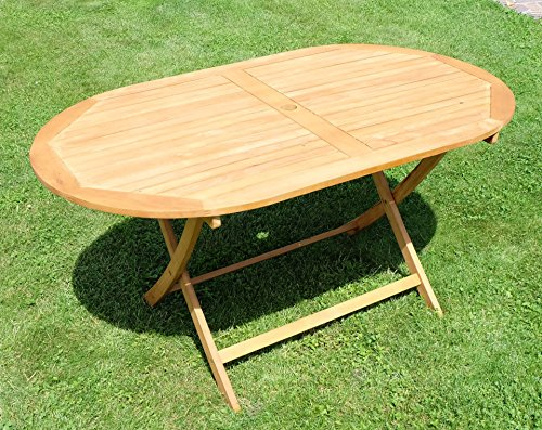 klappbarer gartentisch holztisch tisch oval 150x90cm barbados aus eukalyptus wie teak von as s. Black Bedroom Furniture Sets. Home Design Ideas