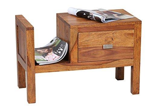 1PLUS Sheesham Massivholz Nachtkonsole mit Schublade und Zeitungsablage 60 x ...