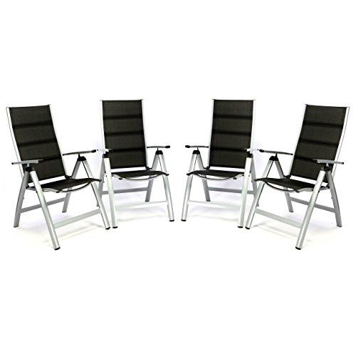 4er set deluxe alu klappstuhl gepolstert schwarz gartenstuhl relaxstuhl terrasse liegestuhl. Black Bedroom Furniture Sets. Home Design Ideas