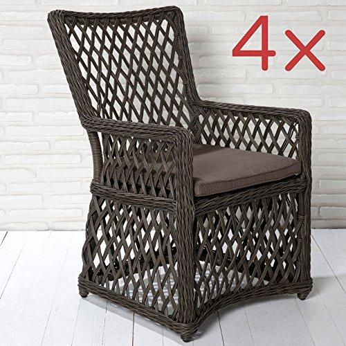 4er Set Gartenstühle Gartensessel braun in Rattanoptik Gartenmöbel Kunststoff
